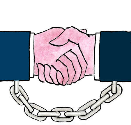 Businessmen in chains shaking hands
