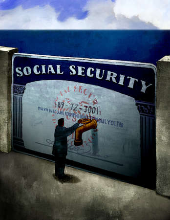 Man adjusting spout on Social Security card dam