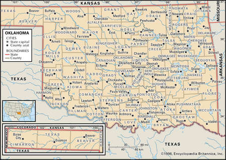 Stock Illustration  Map Of The State Oklahoma Showing