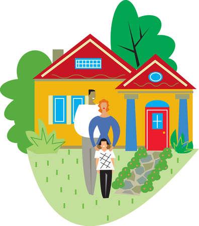 stock illustration - family standing outside house