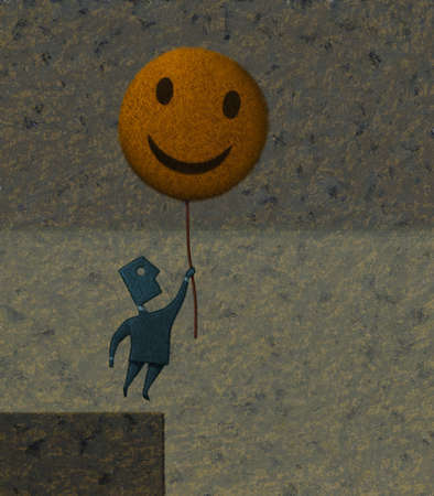 Man lifting off cliff with happy face balloon