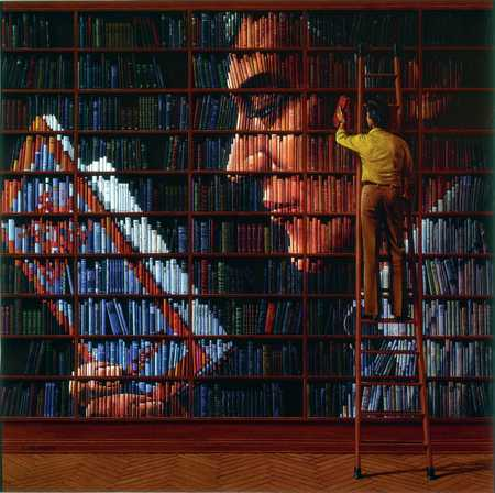 Image Of Man Reading In Library